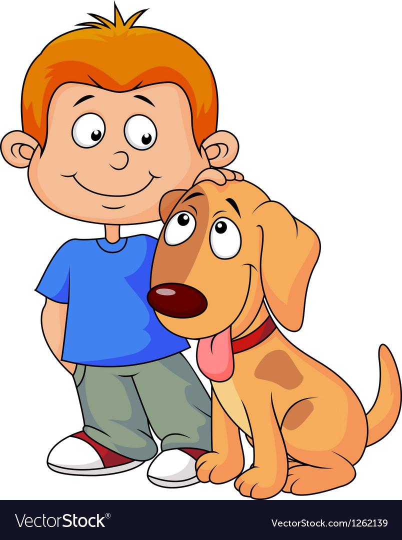 Boy and puppy cartoon vector | Price: 3 Credit (USD $3)
