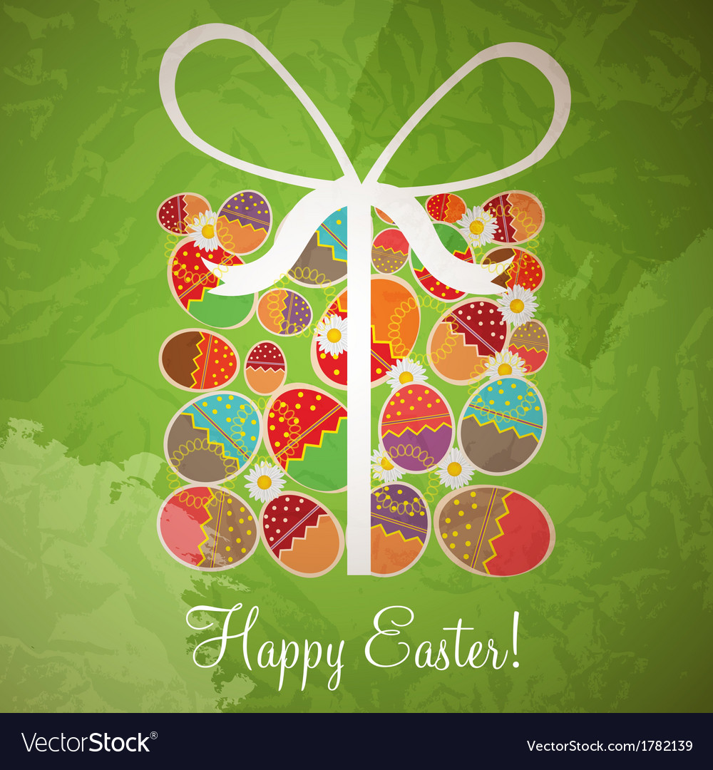 Easter card template - gift box from eggs vector | Price: 1 Credit (USD $1)