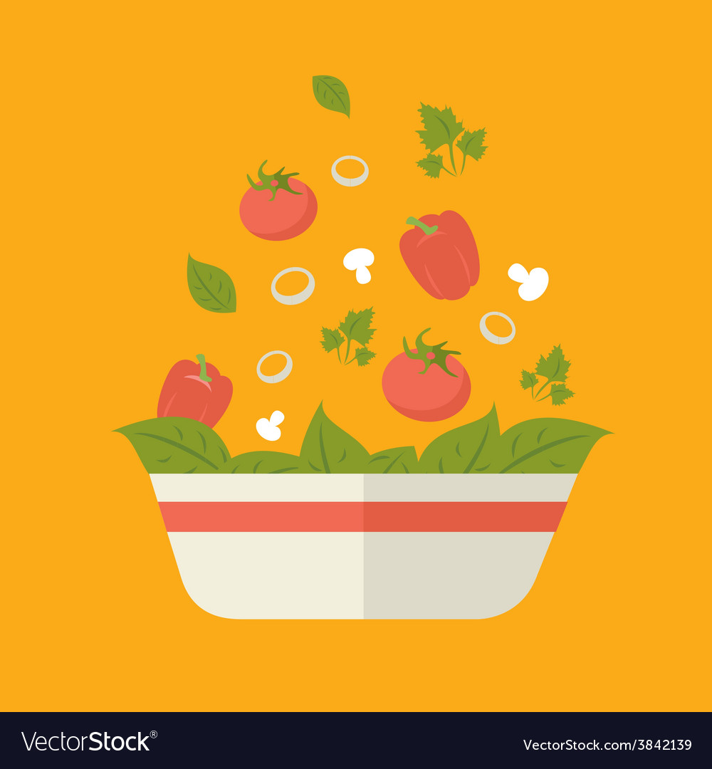 Fresh vegetarian vegetable salad vector | Price: 1 Credit (USD $1)