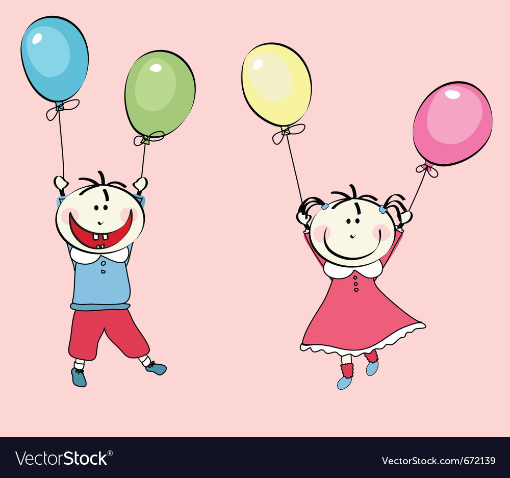 Happy little boy girl flying with the balloons vector | Price: 1 Credit (USD $1)