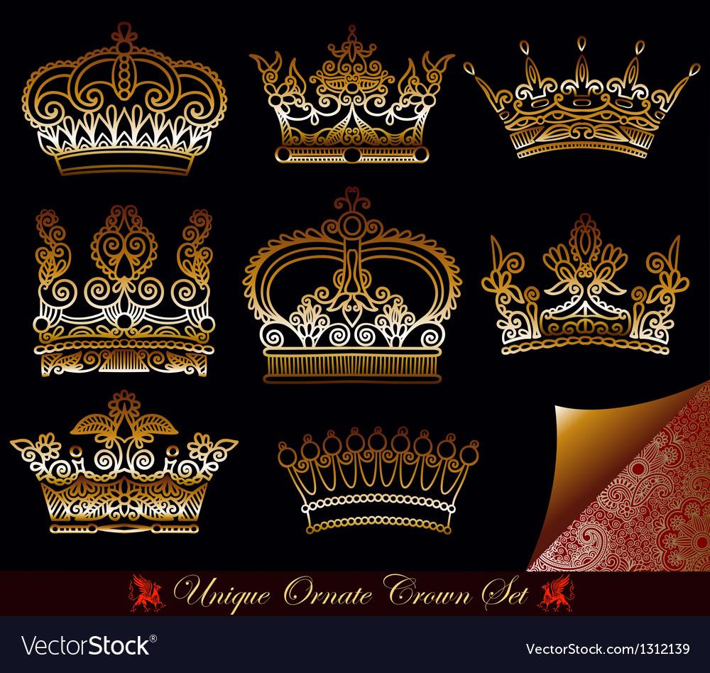Heraldic gold crown set vector   Price: 1 Credit (USD $1)