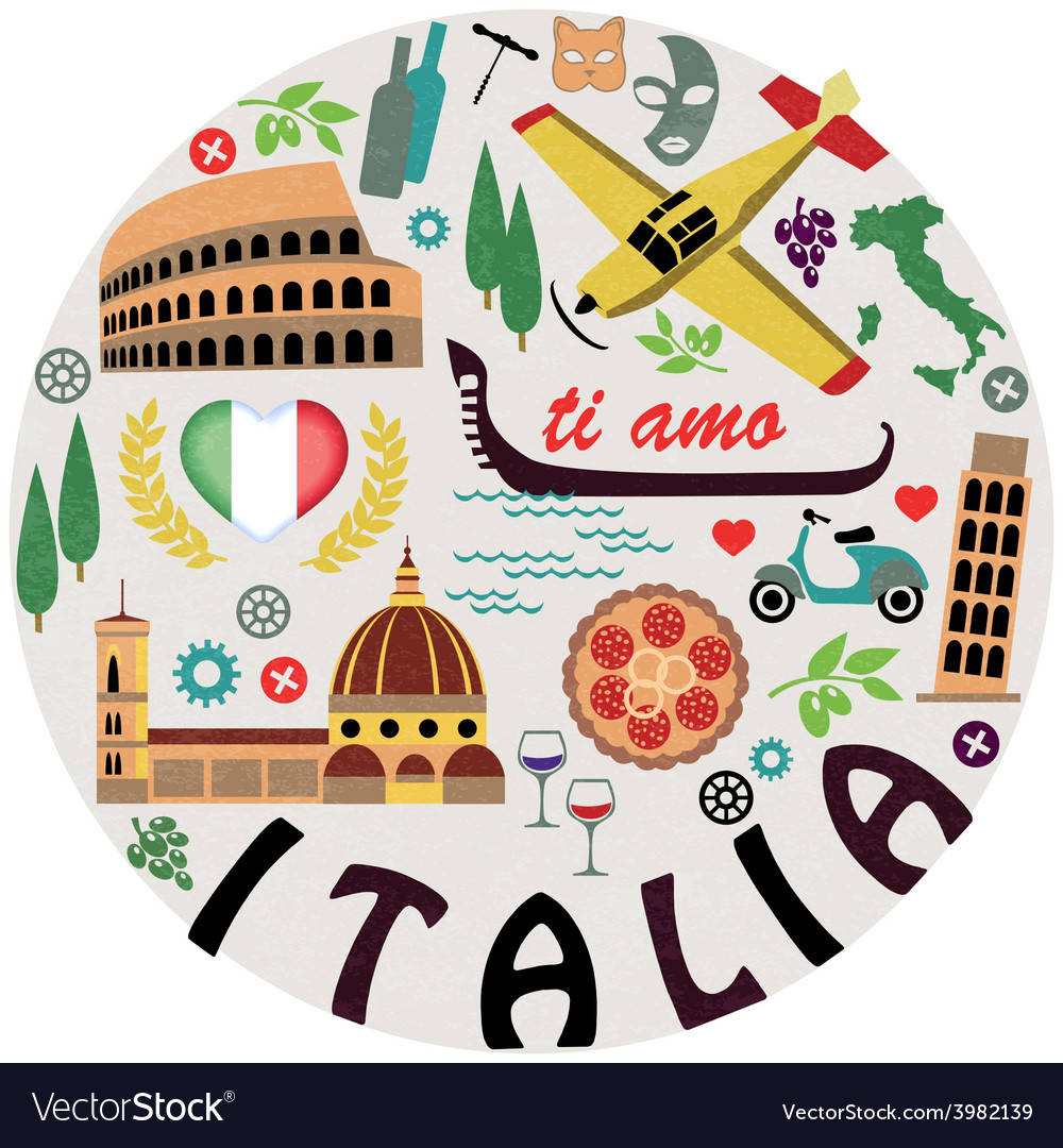 Italy symbols of cities set vector