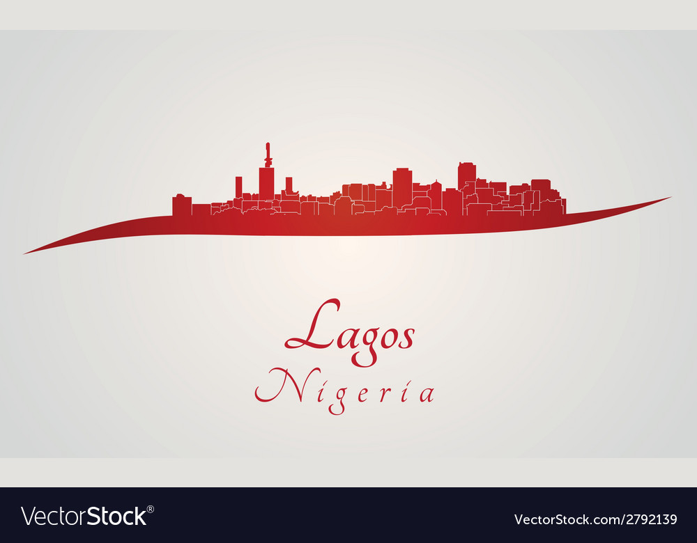 Lagos skyline in red vector | Price: 1 Credit (USD $1)