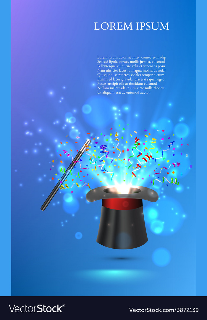 Magician top hat with fireworks from confetti vector | Price: 1 Credit (USD $1)