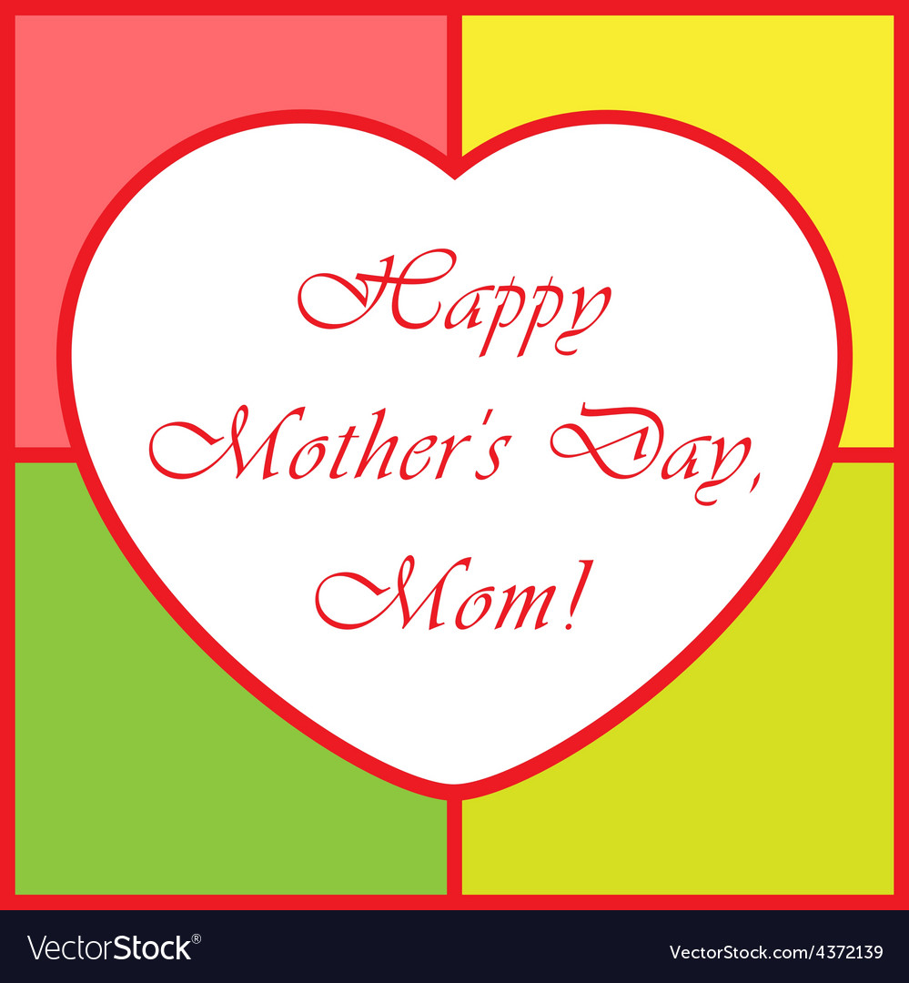 Mothers day greeting card - with heart vector | Price: 1 Credit (USD $1)