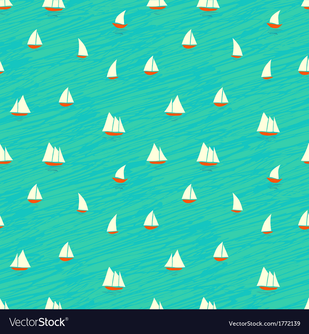 Nautical pattern with small boats on waves vector | Price: 1 Credit (USD $1)