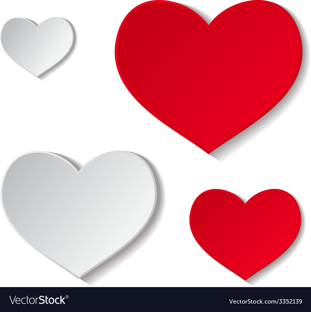 Paper red and grey hearts vector | Price: 1 Credit (USD $1)