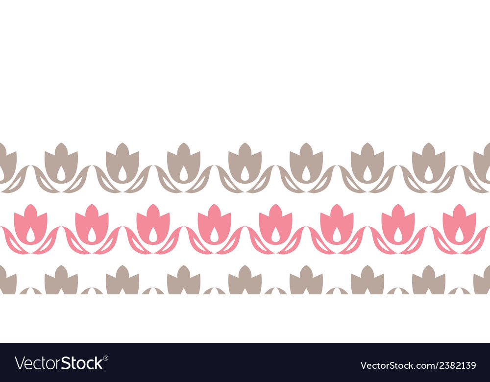 Pink and brown tulips stripes horizontal seamless vector | Price: 1 Credit (USD $1)