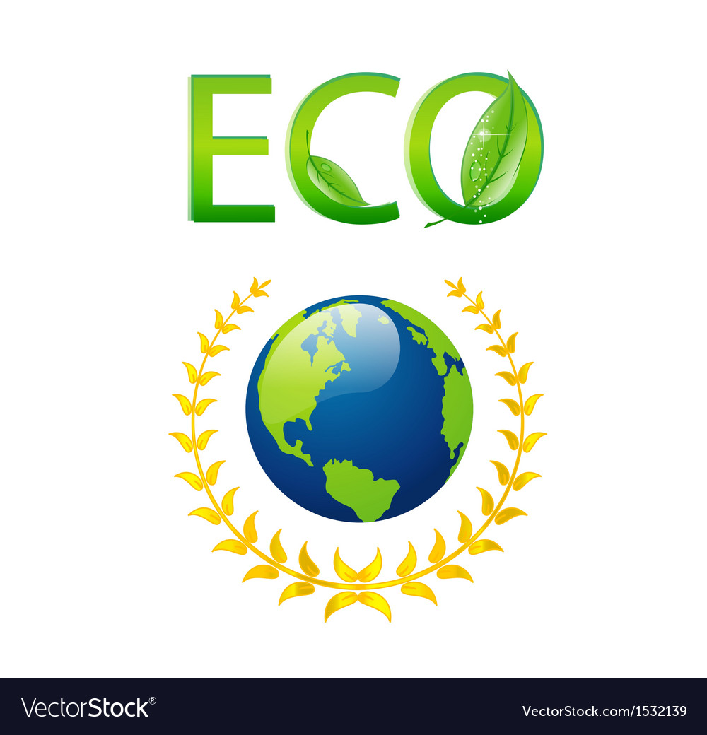 Save eco earth symbol isolated vector | Price: 1 Credit (USD $1)
