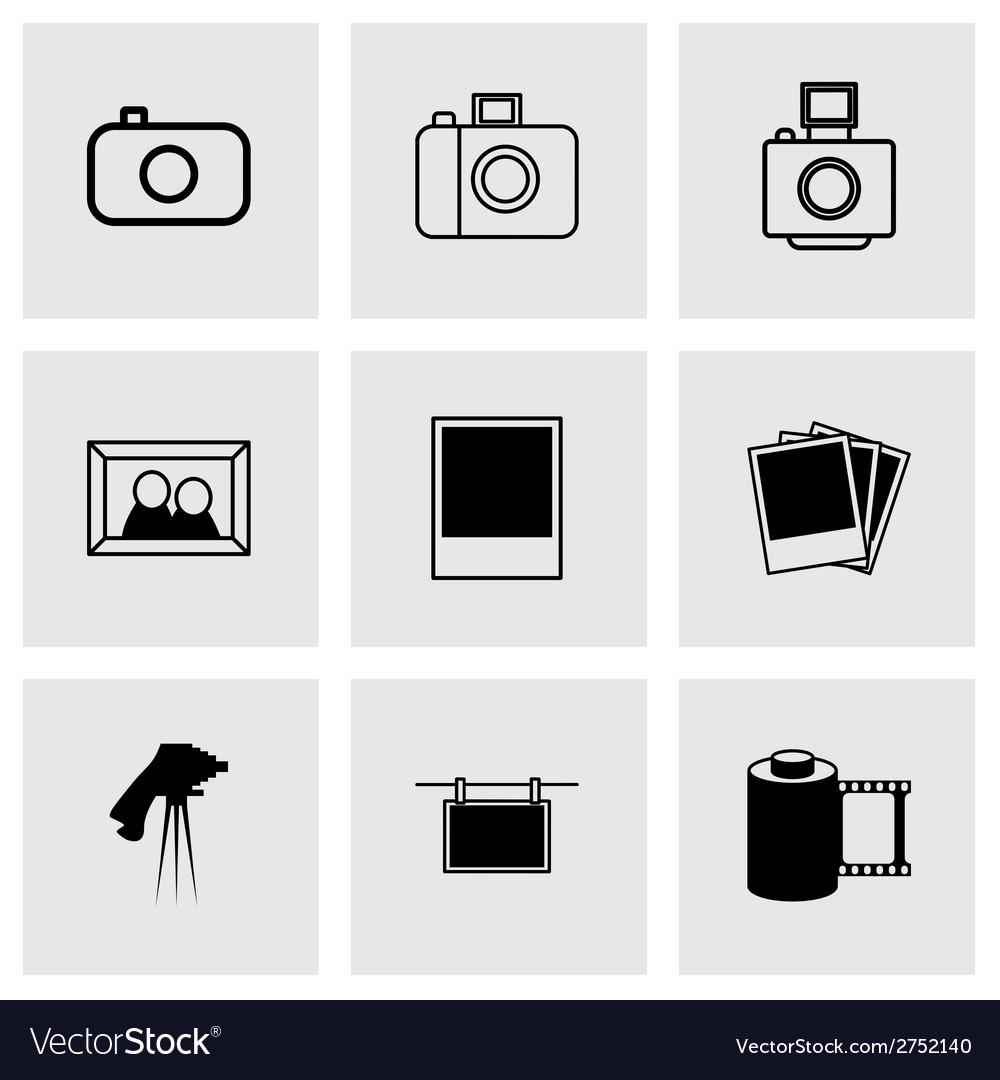 Black photo icons set vector   Price: 1 Credit (USD $1)