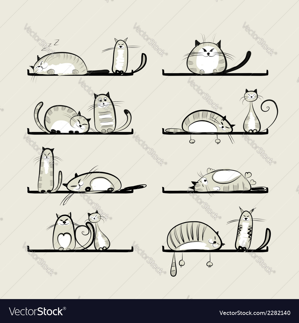 Funny cats on shelves vector | Price: 1 Credit (USD $1)