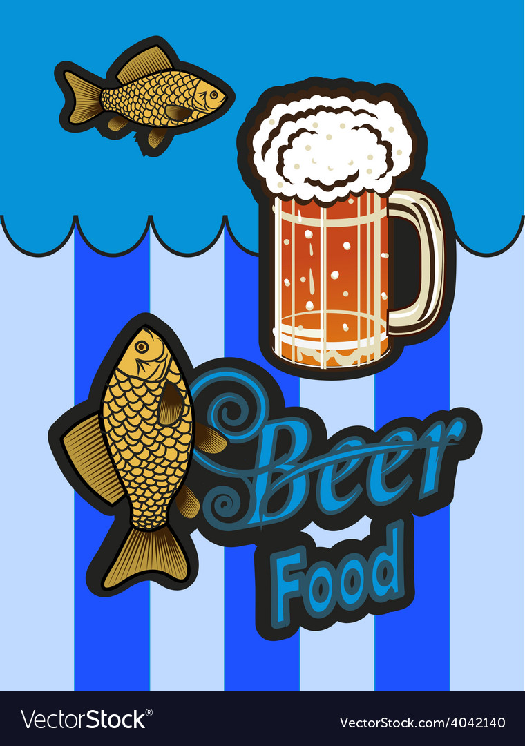 Glass of beer with foam and fish vector | Price: 1 Credit (USD $1)