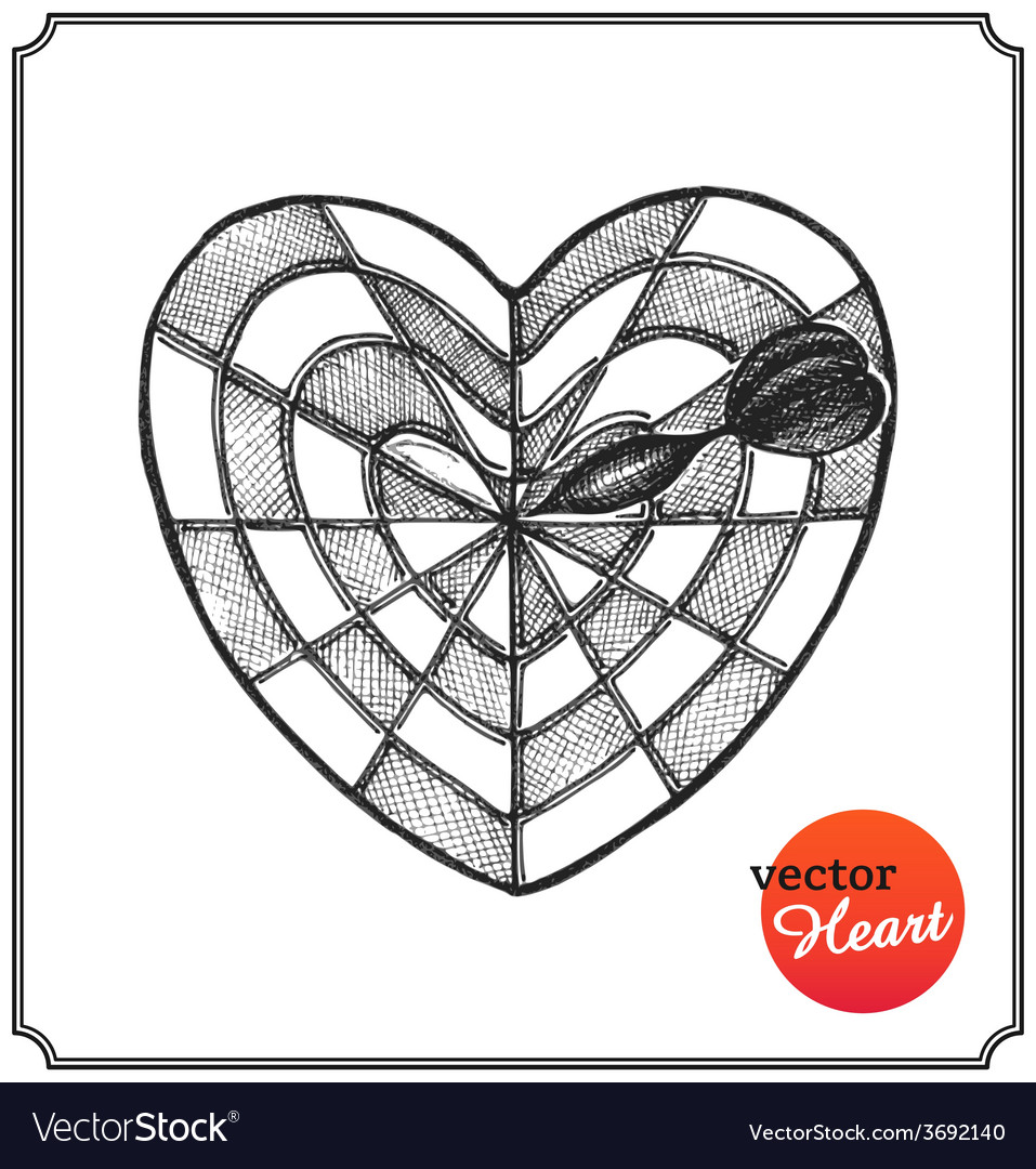 Heart in form target of defeat arrow in goal vector | Price: 1 Credit (USD $1)