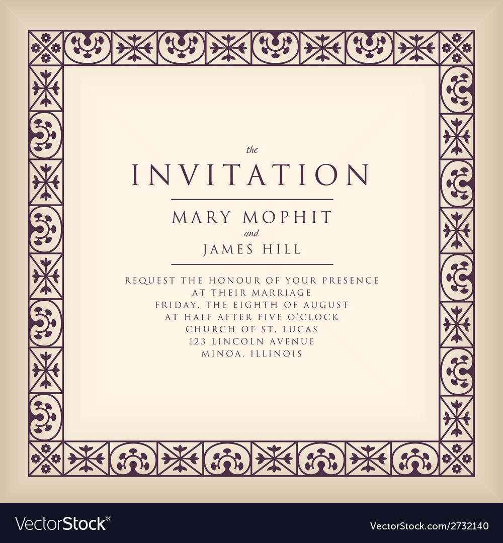 Invitation with border frame renaissance vector | Price: 1 Credit (USD $1)