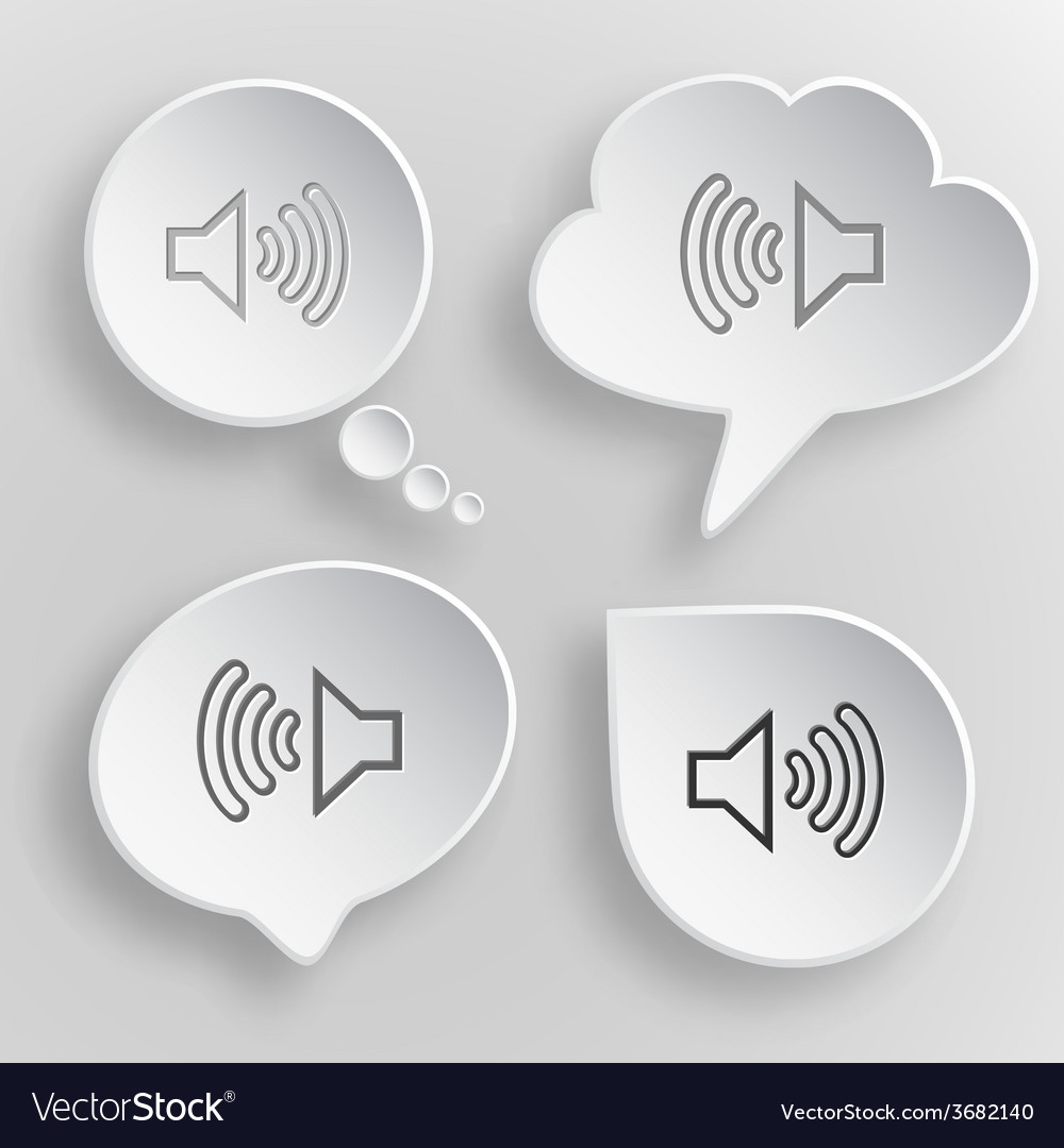 Loudspeaker white flat buttons on gray background vector | Price: 1 Credit (USD $1)