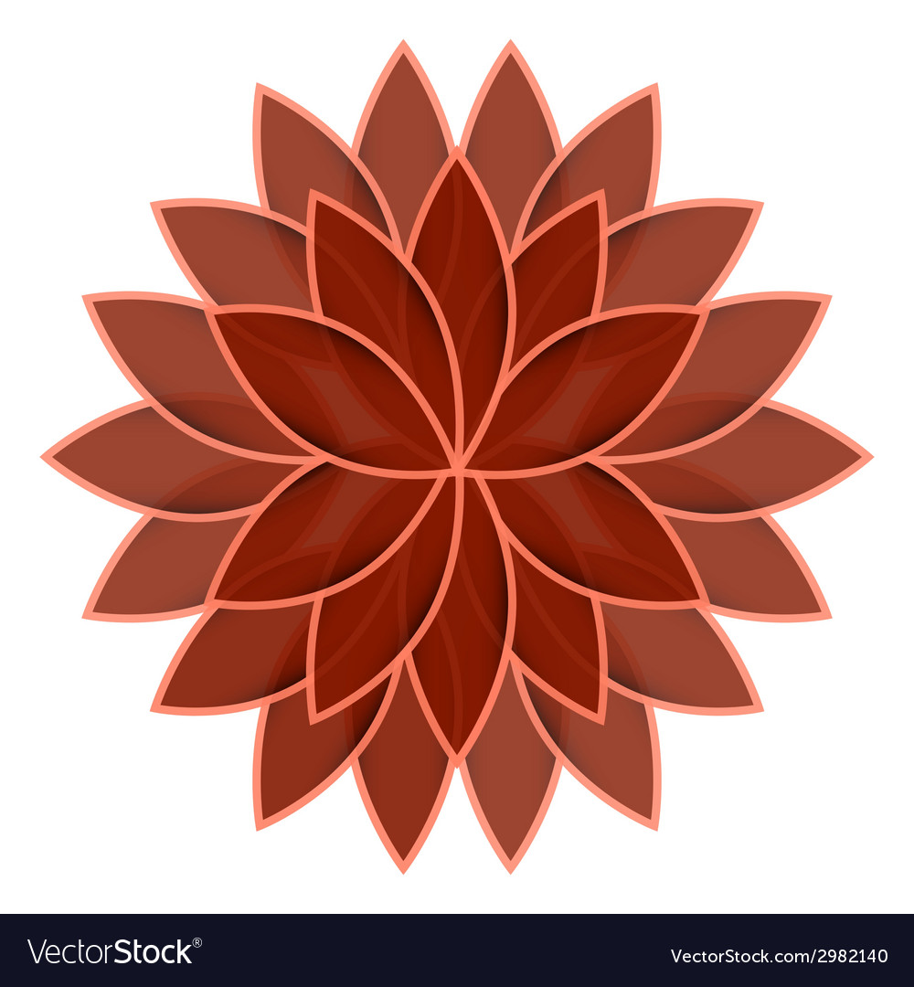 Red flower lotus on white background isolated vector | Price: 1 Credit (USD $1)