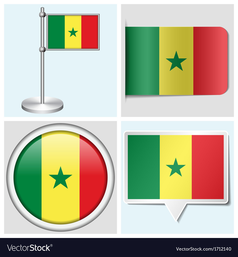 Senegal flag - sticker button label flagstaff vector | Price: 1 Credit (USD $1)