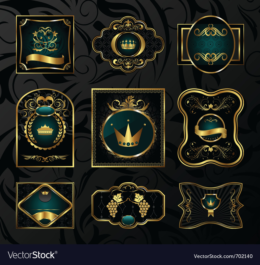 Set black gold-framed labels - vector | Price: 1 Credit (USD $1)
