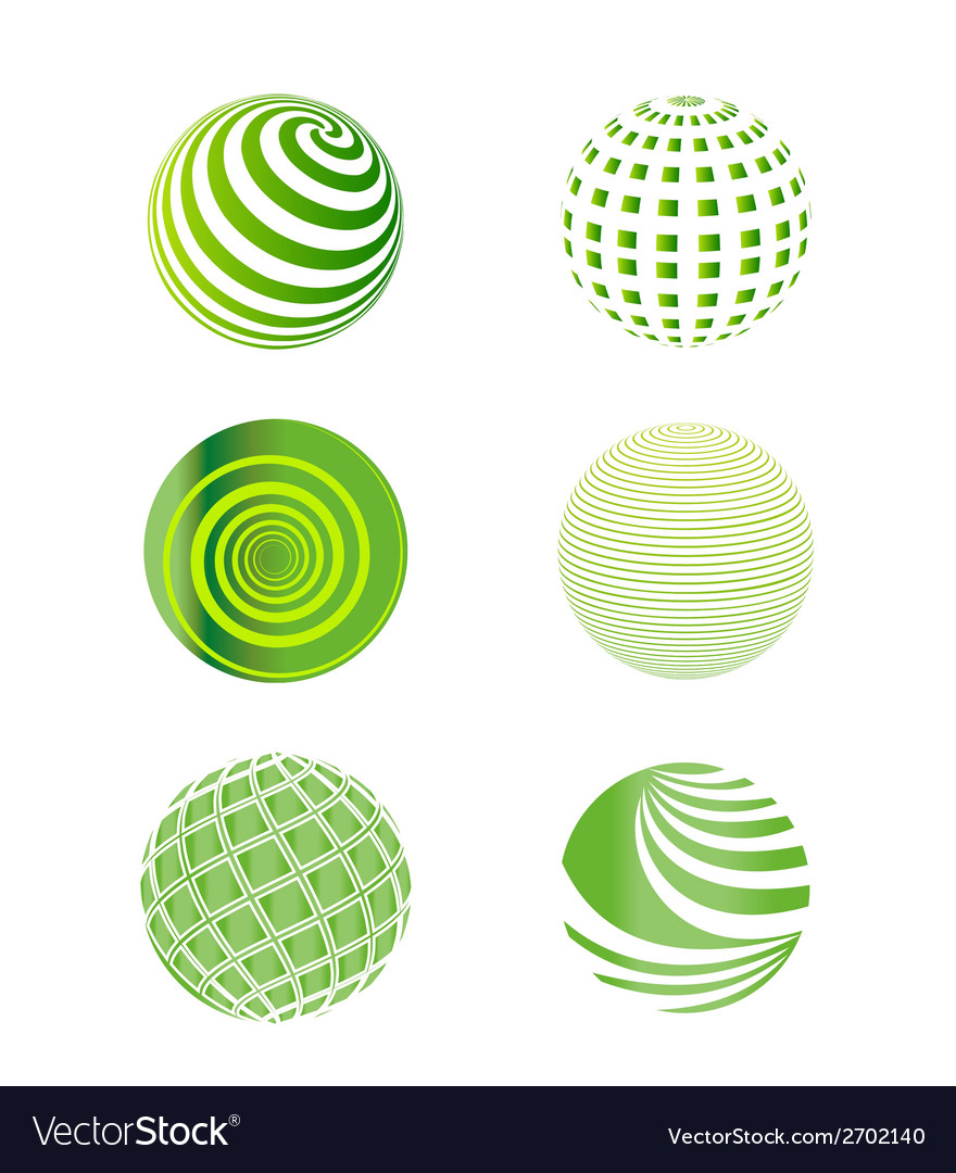 Set of green globes vector | Price: 1 Credit (USD $1)