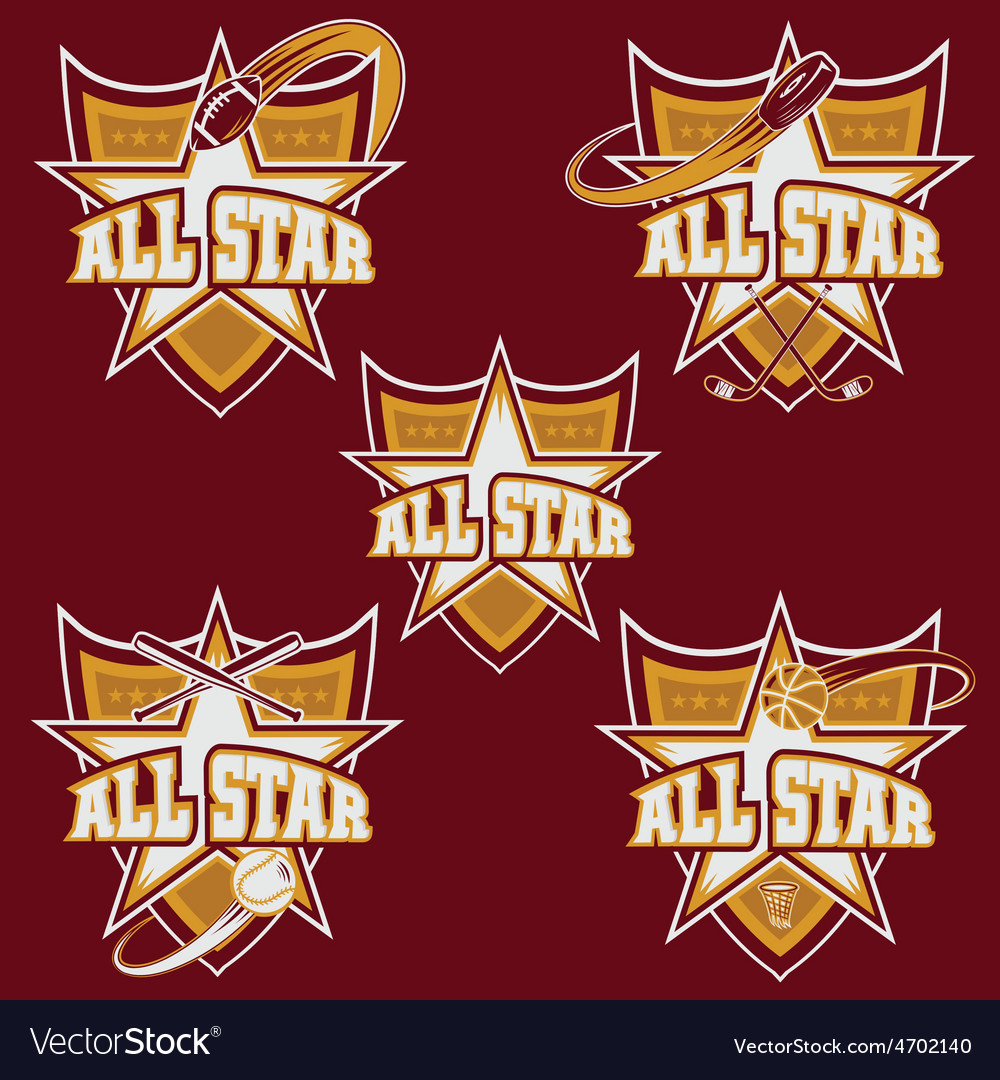 Set of vintage sports all star crests vector | Price: 1 Credit (USD $1)
