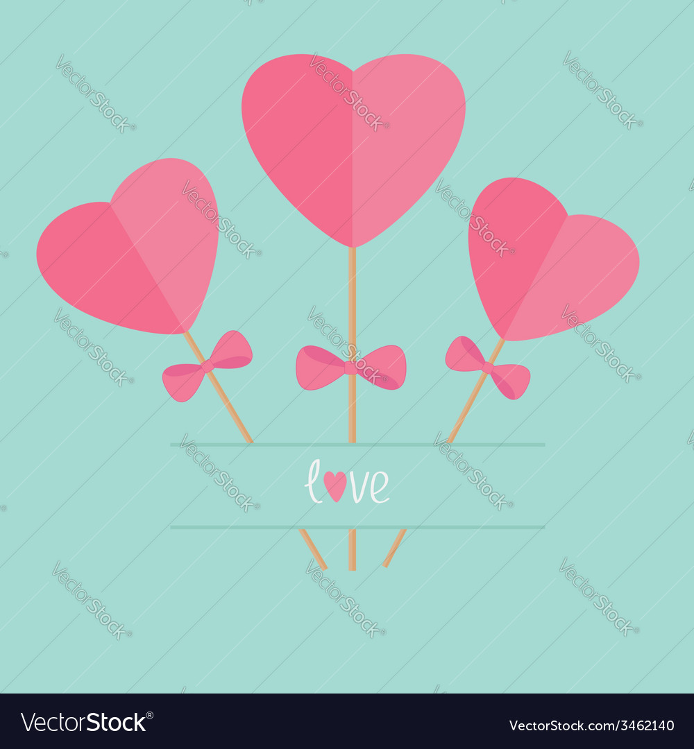 Three sticks with hearts and bows word love flat vector | Price: 1 Credit (USD $1)