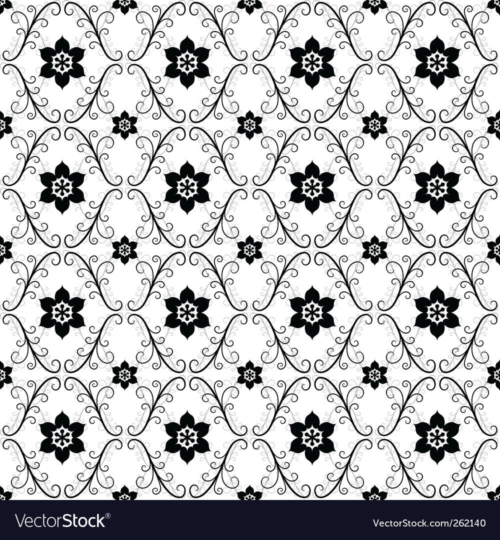 White black vintage seamless pattern vector | Price: 1 Credit (USD $1)