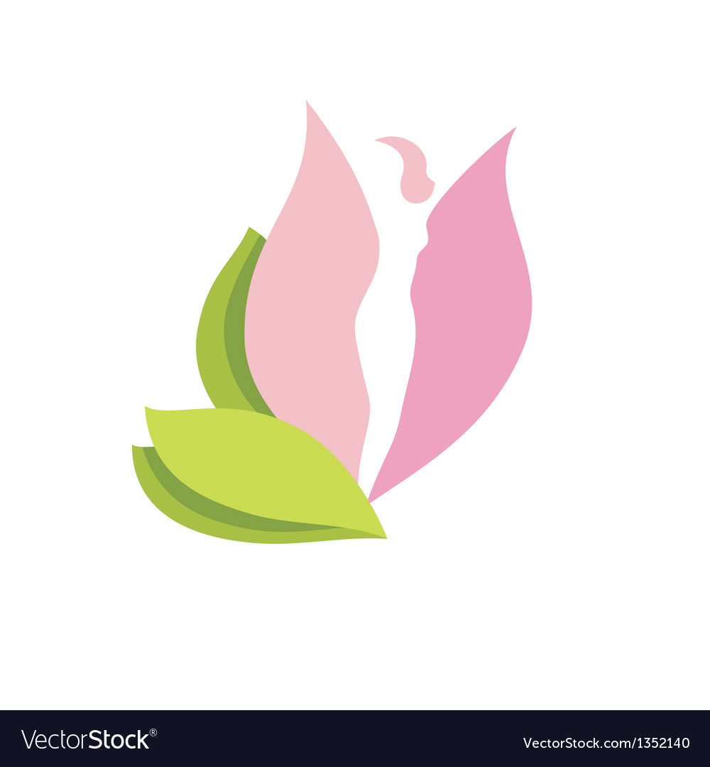 Woman body silhouette in pink flower bud vector | Price: 1 Credit (USD $1)