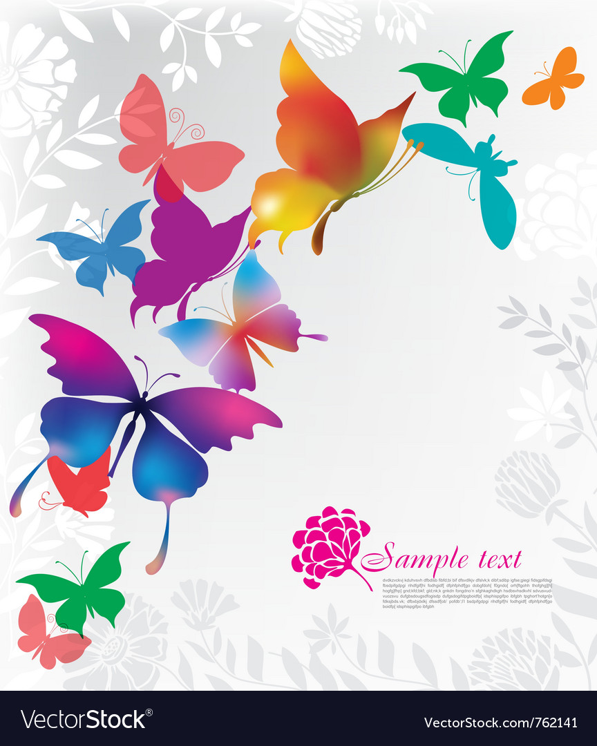 Background with colorful butterflies vector | Price: 1 Credit (USD $1)
