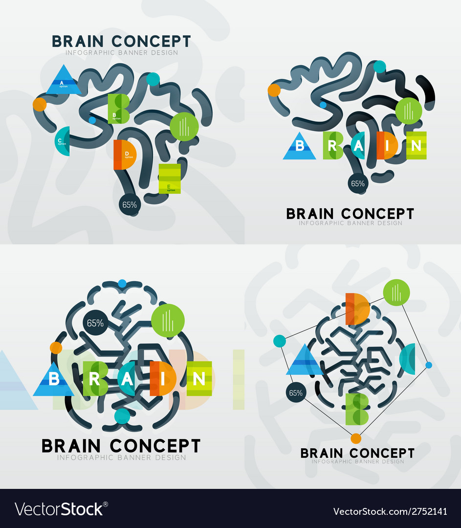 Brain minimal line style infographic banner design vector   Price: 1 Credit (USD $1)