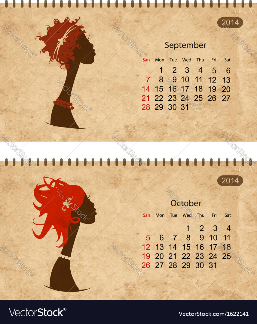 Calendar 2014 with female profile on grunge paper vector | Price: 1 Credit (USD $1)