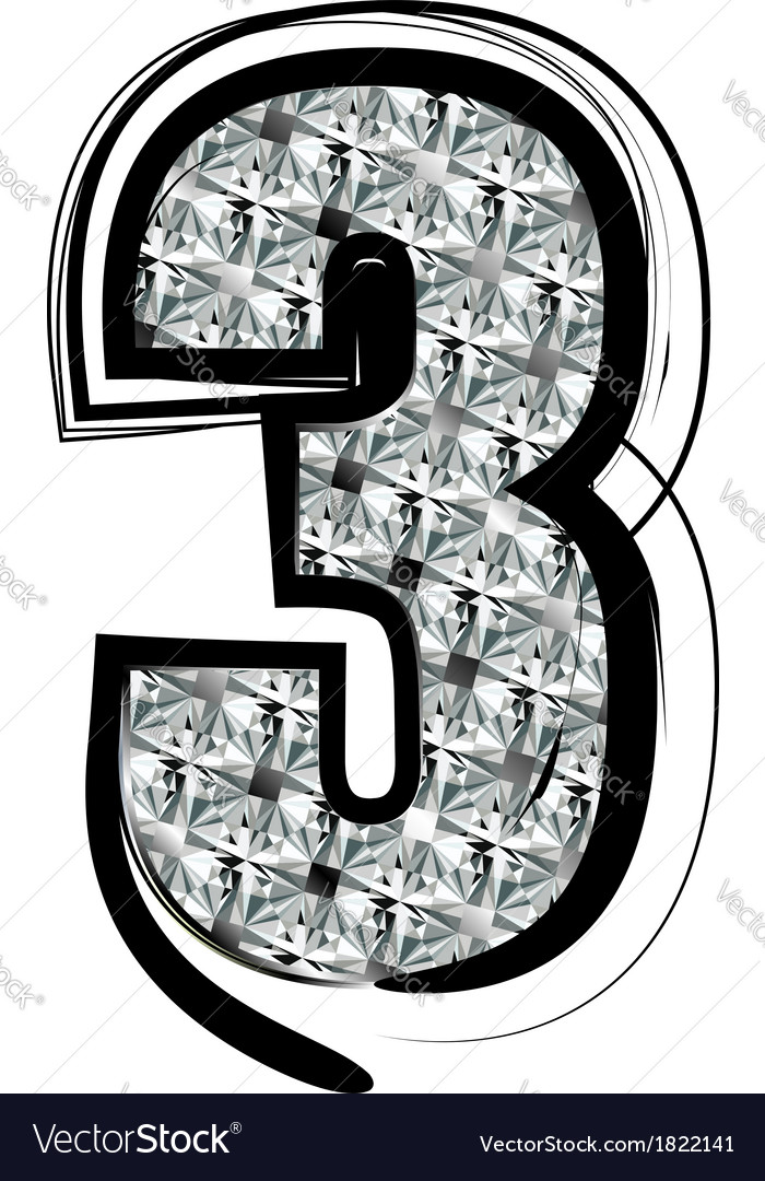 Diamond font number 3 vector | Price: 1 Credit (USD $1)