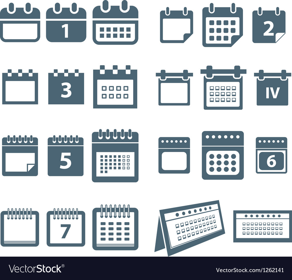 Different styles of calendar web icons collection vector | Price: 1 Credit (USD $1)