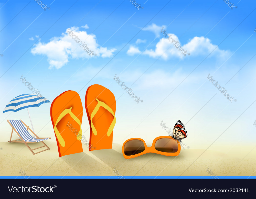Flip flops sunglasses beach chair and a butterfly vector | Price: 1 Credit (USD $1)
