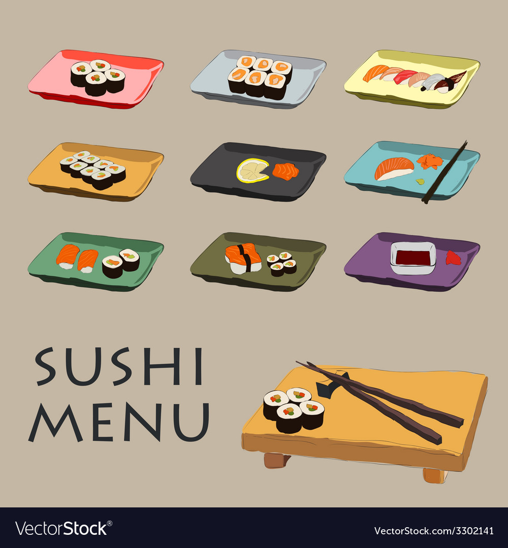 Icons various pieces of sushi vector | Price: 1 Credit (USD $1)