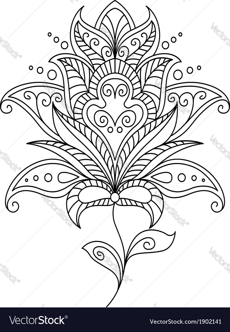 Intricate dainty floral motif design element vector | Price: 1 Credit (USD $1)