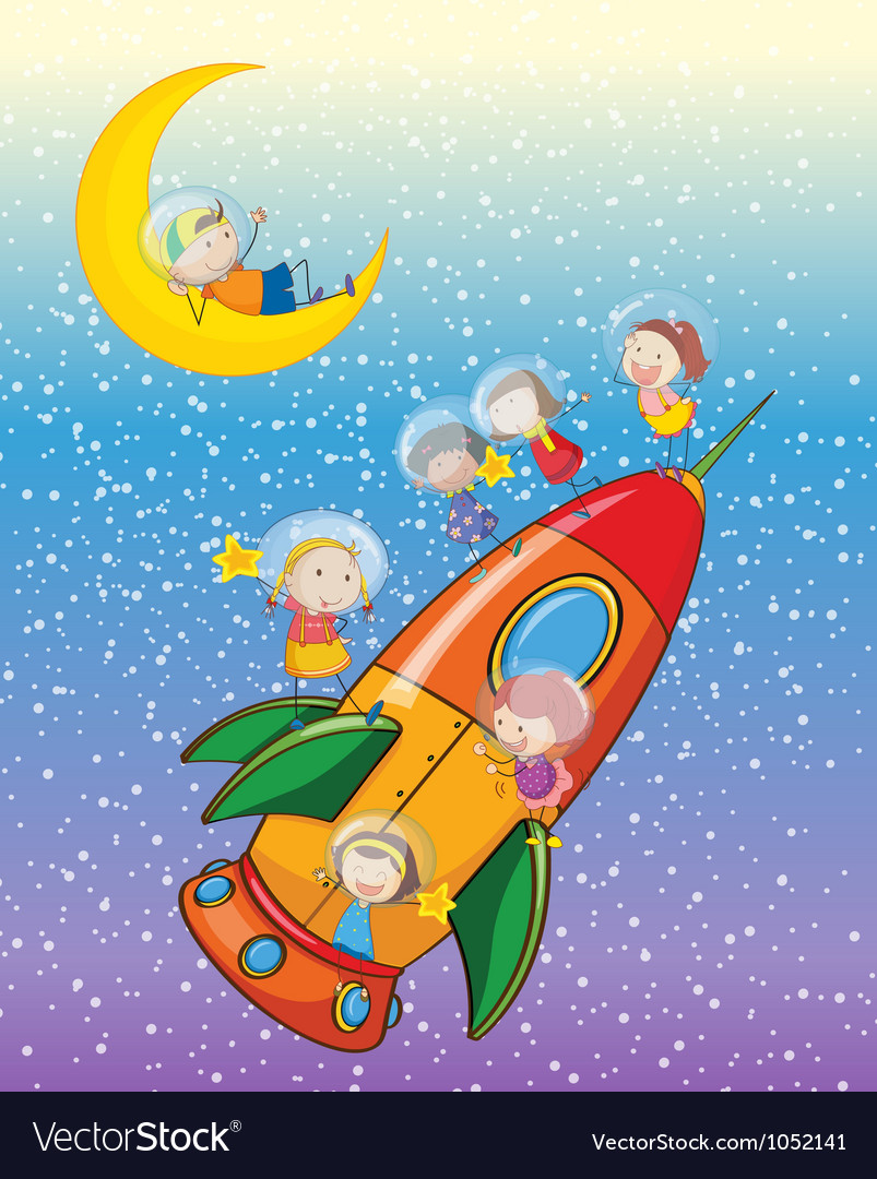 Kids on moon and spaceship vector | Price: 3 Credit (USD $3)