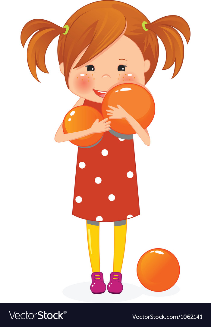 Little girl with orange ball vector | Price: 3 Credit (USD $3)