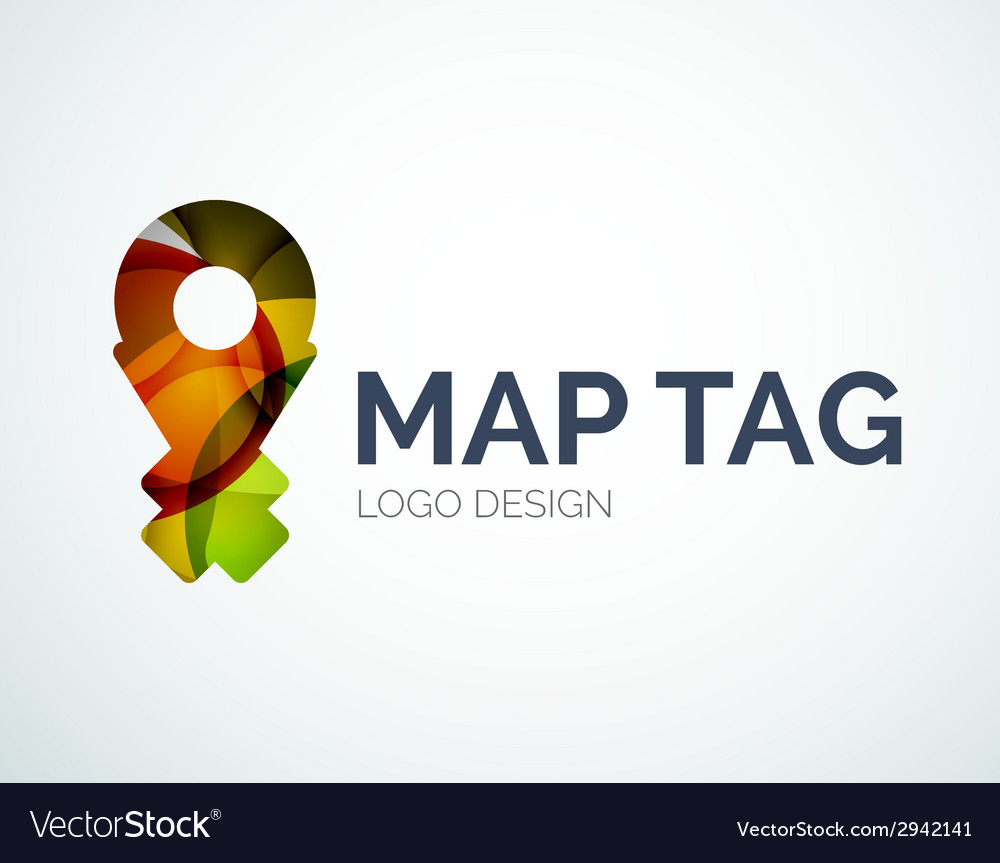 Map tag logo design made of color pieces vector | Price: 1 Credit (USD $1)