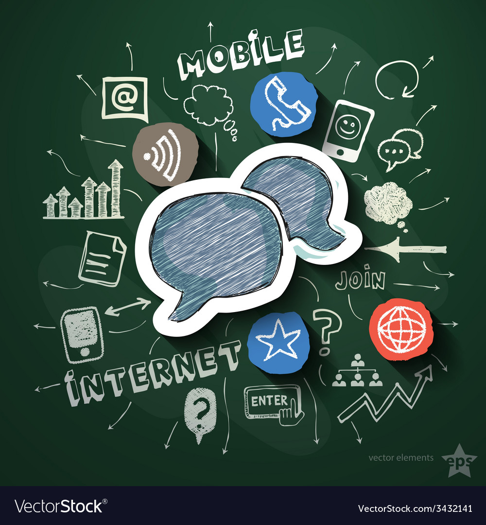 Mobile internet collage with icons on blackboard vector | Price: 3 Credit (USD $3)