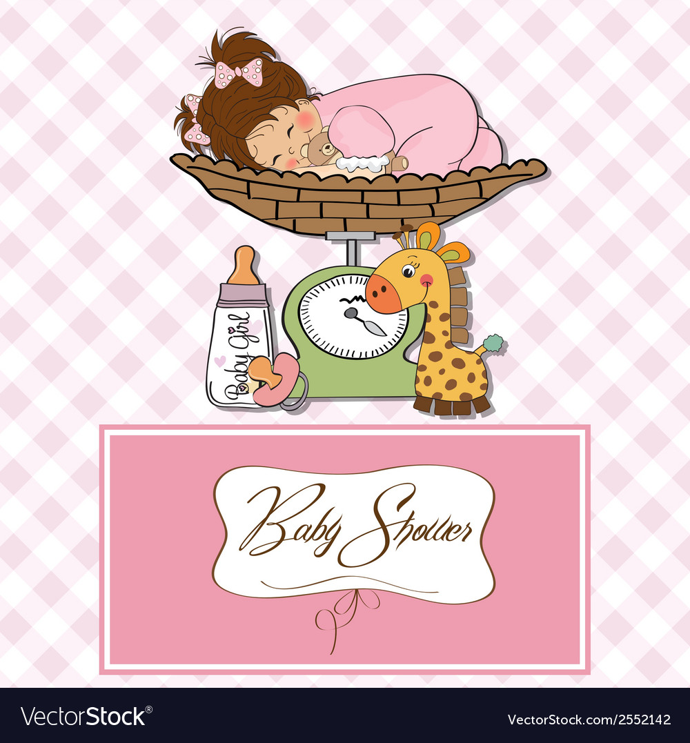Baby girl on on weighing scale vector | Price: 1 Credit (USD $1)
