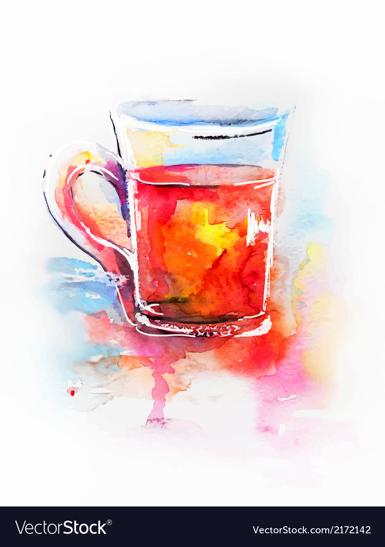 Background with painted watercolor tea in glass vector | Price: 1 Credit (USD $1)