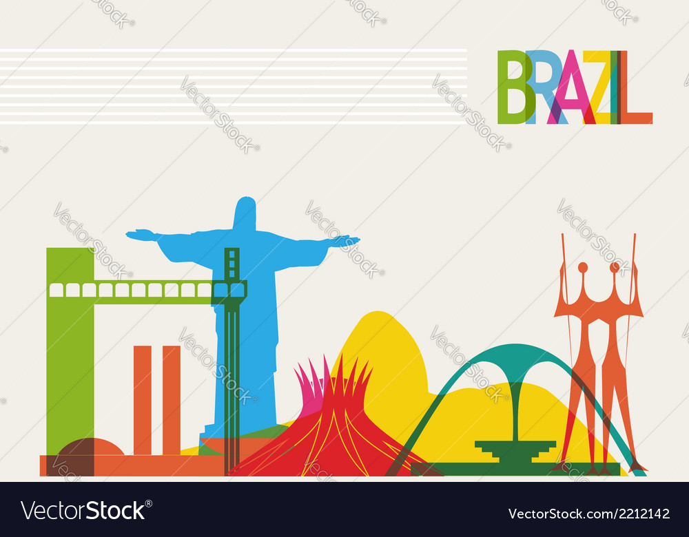 Brazil tourism skyline vector | Price: 1 Credit (USD $1)