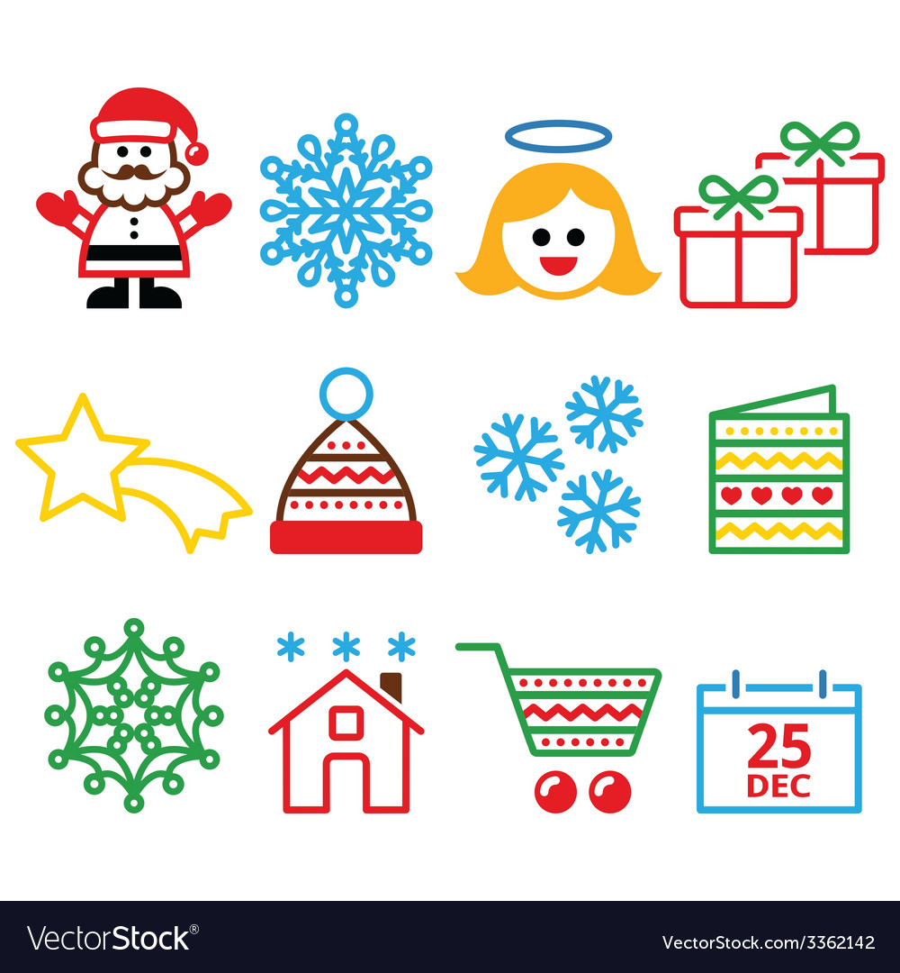 Christmas xmas celebrate icons set vector | Price: 1 Credit (USD $1)