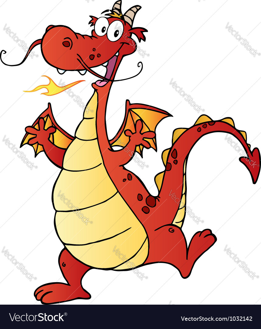 Happy red dragon cartoon character vector | Price: 1 Credit (USD $1)