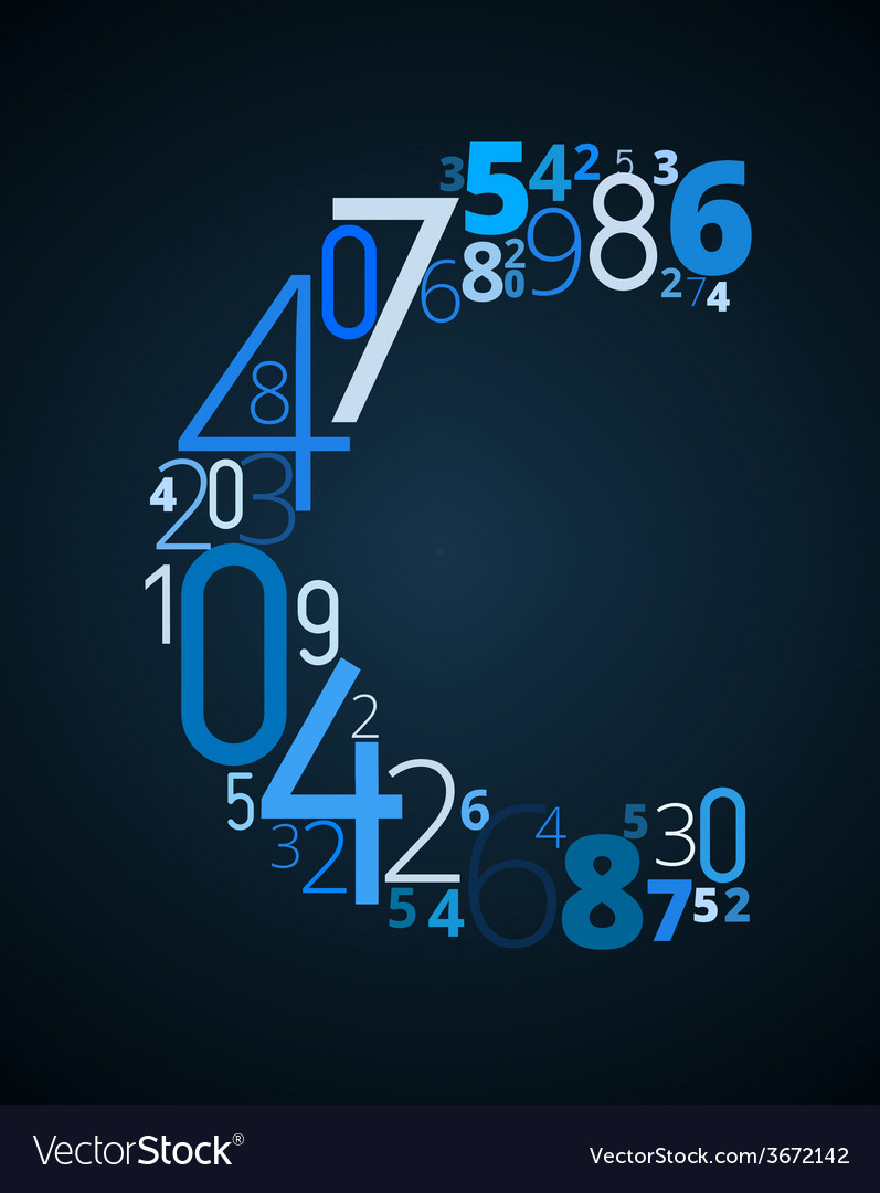 Letter c font from numbers vector   Price: 1 Credit (USD $1)