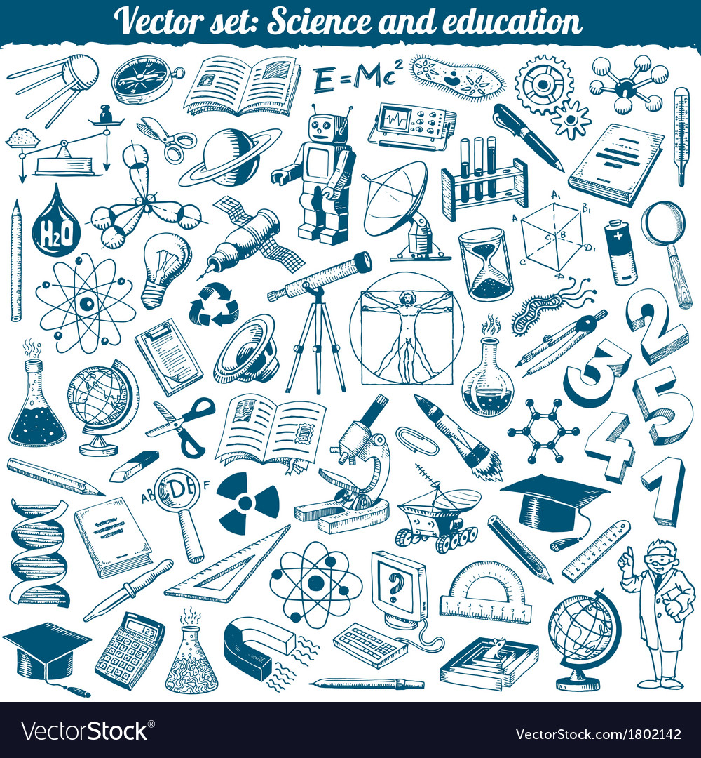 Science and education doodles icons set vector | Price: 1 Credit (USD $1)