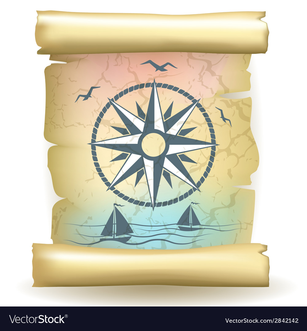 Scroll with vintage compass design and boats vector | Price: 1 Credit (USD $1)