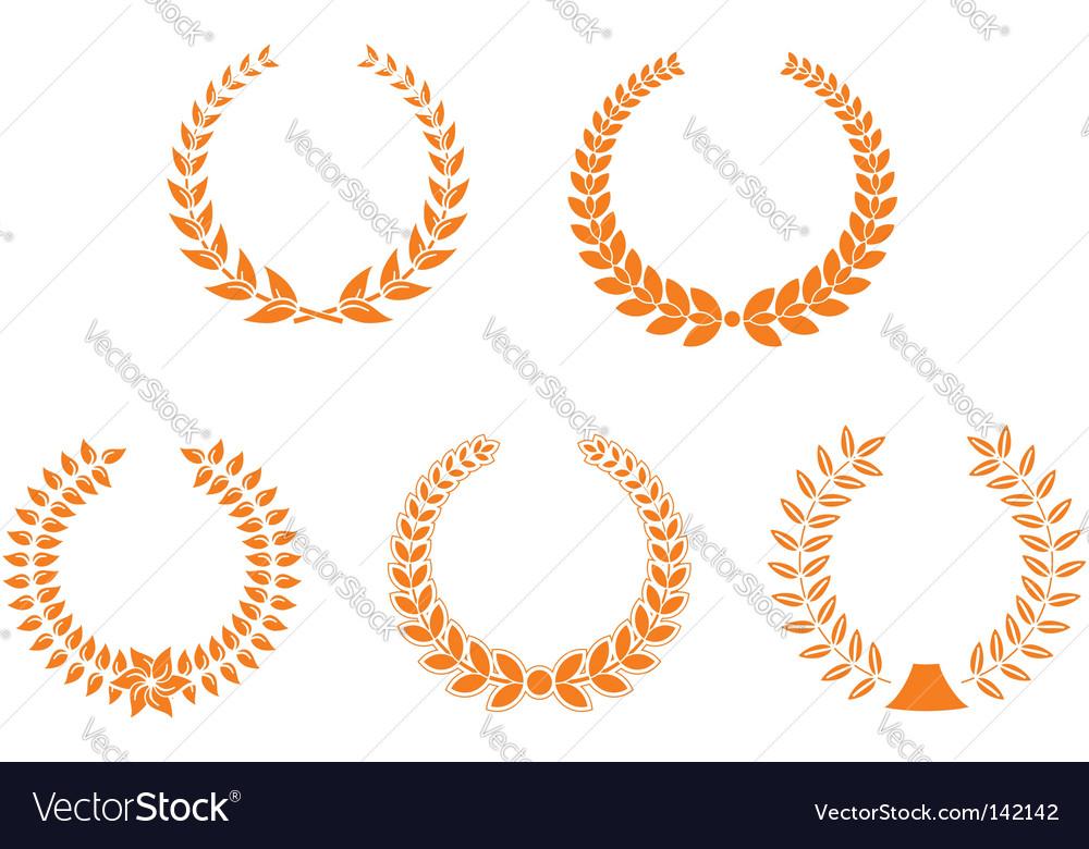 Set of laurel wreaths vector | Price: 1 Credit (USD $1)