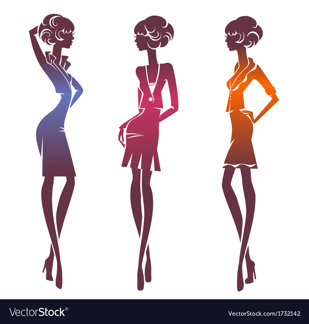 Three silhouette stylish girls vector | Price: 1 Credit (USD $1)