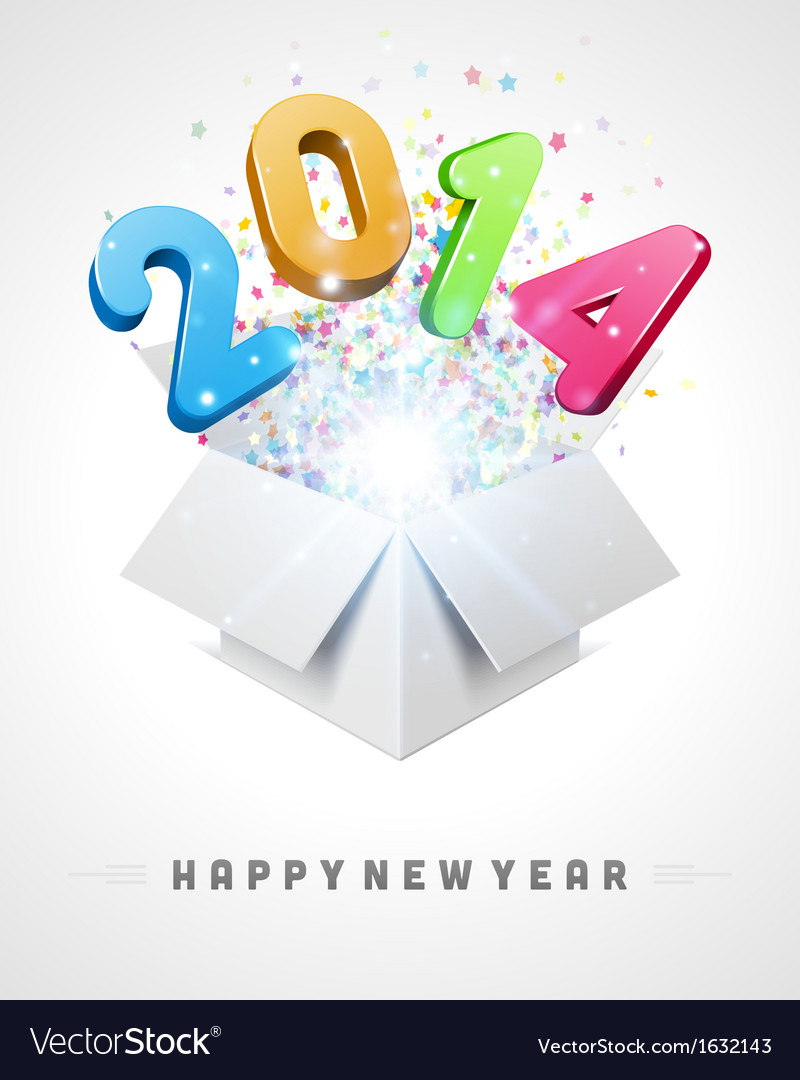 3d happy new year 2014 3d message fly vector | Price: 1 Credit (USD $1)